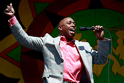 05 May 2013. New Orleans, Louisiana,  USA. .New Orleans Jazz and Heritage Festival. JazzFest..Jeffrey Osborne brings some funk to Congo Square..Photo; Charlie Varley.