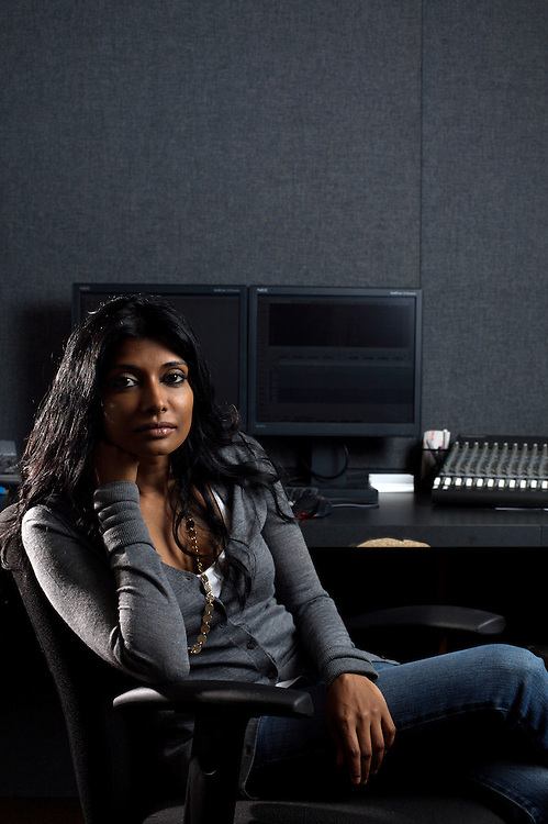 8/12/08 9:08:40 AM -- Washington, DC, U.S.A..Documentary filmmaker Roshini Thinakaran, in her editing suite in Washington, DC on Tuesday, Aug. 12, 2008...Photo by Jay Westcott, Freelance.
