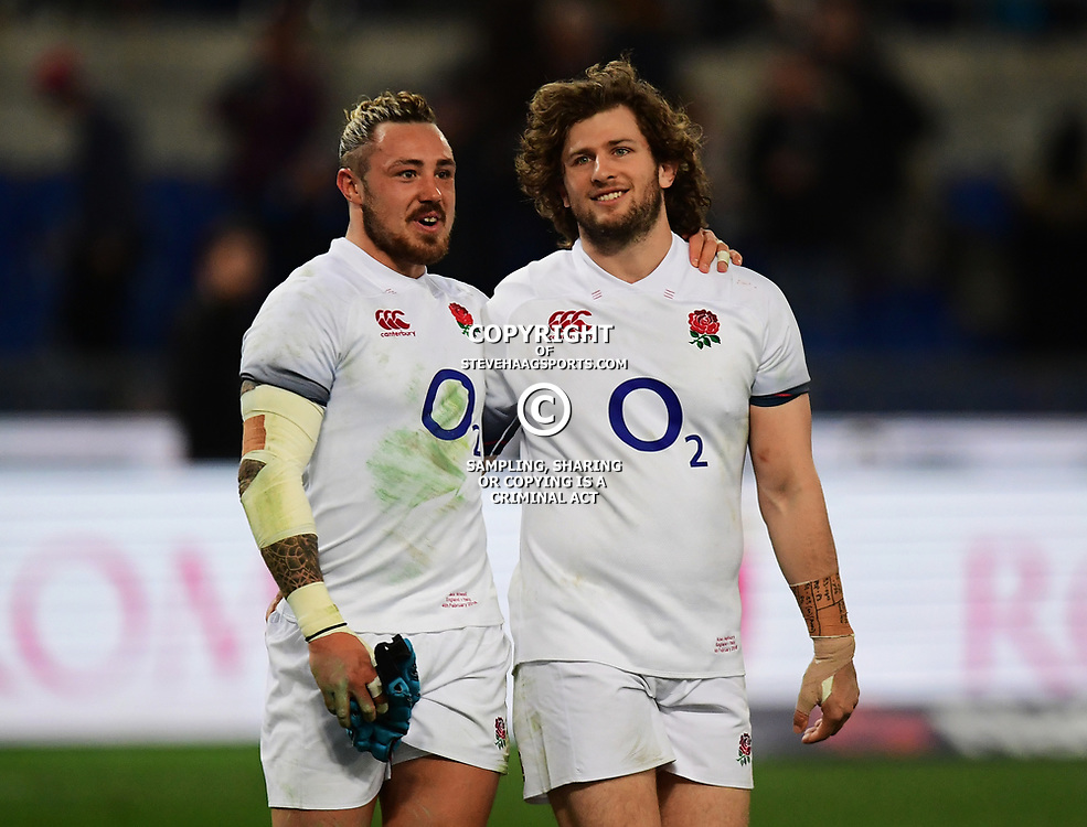 Jack Nowell of England and Alec Hepburn of England talk after the game
