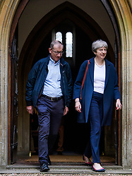 © Licensed to London News Pictures. 02/07/2017. Maidenhead, UK. British prime minister THERESA MAY attends church with her husband PHILIP in her constituency in Maidenhead, Berkshire, UK . Photo credit: Ben Cawthra/LNP