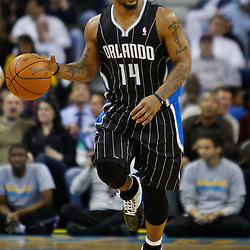 January 12, 2011; New Orleans, LA, USA; Orlando Magic point guard Jameer Nelson (14) against the New Orleans Hornets during the second half at the New Orleans Arena. The Hornets defeated the Magic 92-89.  Mandatory Credit: Derick E. Hingle