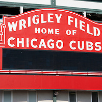 Picture of Wrigley Field sign. Chicago Cubs Wrigley Field was built in 1914 and is also referred to as The Friendly Confines. High resolution stock photos and prints are available.