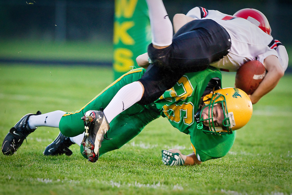 Rodney Dingman makes a tackle after chasing down a ball carrier on the field with the Lakeland Hawks