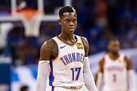 OKLAHOMA CITY, OK - APRIL 21: Dennis Schroder #17 of the Oklahoma City Thunder looks over the offense during a game against the Portland Trail Blazers during Round One Game Three of the 2019 NBA Playoffs on April 21, 2019 at Chesapeake Energy Arena in Oklahoma City, Oklahoma  NOTE TO USER: User expressly acknowledges and agrees that, by downloading and or using this photograph, User is consenting to the terms and conditions of the Getty Images License Agreement.  The Trail Blazers defeated the Thunder 111-98.  (Photo by Wesley Hitt/Getty Images) *** Local Caption *** Dennis Schroder