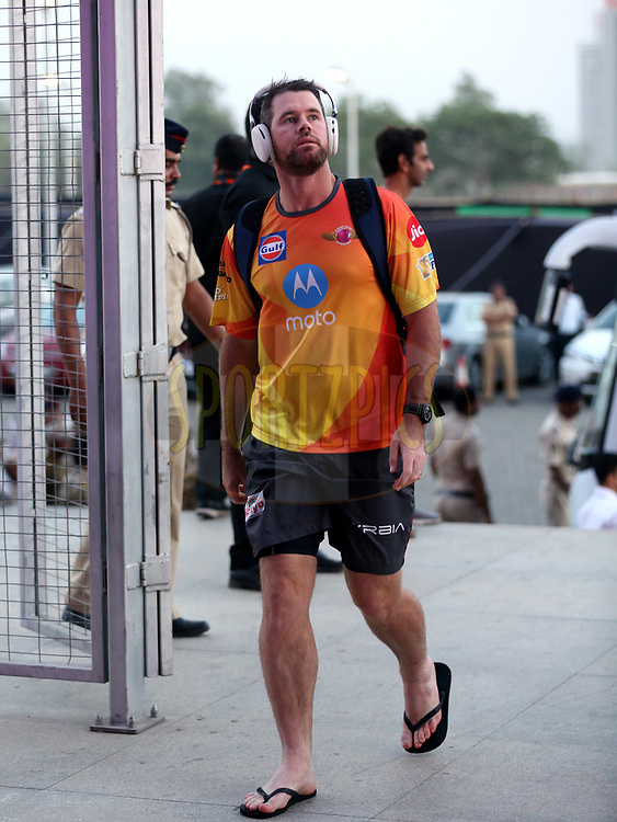Daniel Christian of Rising Pune Supergiant arrives for the  match 30 of the Vivo 2017 Indian Premier League between the Rising Pune Supergiants and the Kolkata Knight Riders  held at the MCA Pune International Cricket Stadium in Pune, India on the 26th April 2017<br /> <br /> Photo by Sandeep Shetty - Sportzpics - IPL