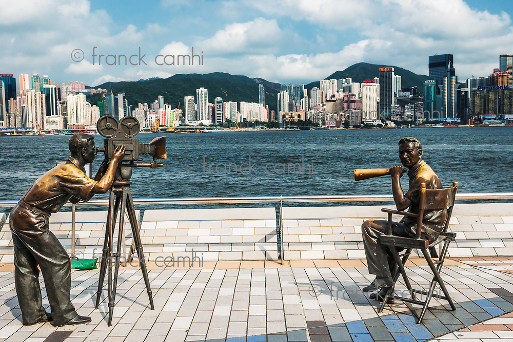 Kowloon , Hong Kong, China- June 9, 2014: statues Avenue of Stars Tsim Sha Tsui Kowloon in Hong Kong