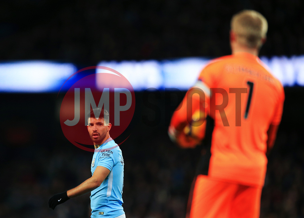 Sergio Aguero of Manchester City looks towards Kasper Schmeichel of Leicester City - Mandatory by-line: Matt McNulty/JMP - 10/02/2018 - FOOTBALL - Etihad Stadium - Manchester, England - Manchester City v Leicester City - Premier League