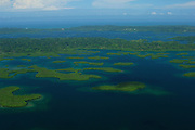 Mangrove islands and coral reefs at Bastimentos National Marine Park. Bocas del Toro archipelago, Panama, Caribbean, Central America.