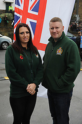 © Licensed to London News Pictures. 15/11/2014 . Jayda Fransen, Rochester By-election candidate for Britain First and Britain First Leader Paul Golding. Britain First held a march in Rochester today (15.11.2014) with anti- fascist groups also in attendance to try and  Stop the march taking place. (Byline:Grant Falvey/LNP)