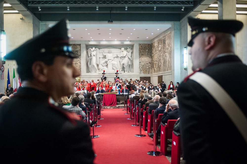 Milan, Italy - 30-01-2016: Italian Carabinieri stand guards during the opening ceremony of the judicial year at the court of Justice of Milan.
