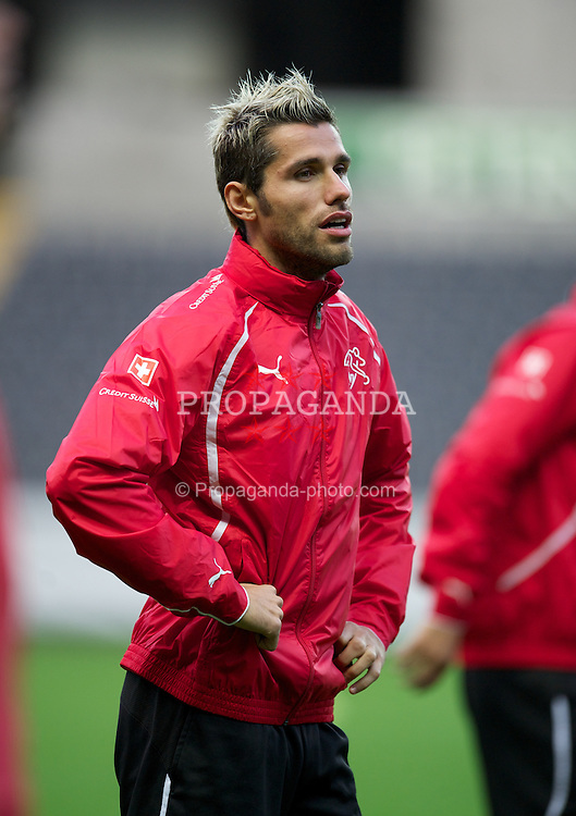 SWANSEA, WALES - Thursday, October 6, 2011: Switzerland's Valon Behrami during a trainings session ahead of the UEFA Euro 2012 Qualifying Group G match against Wales at the Liberty Stadium. (Pic by David Rawcliffe/Propaganda)