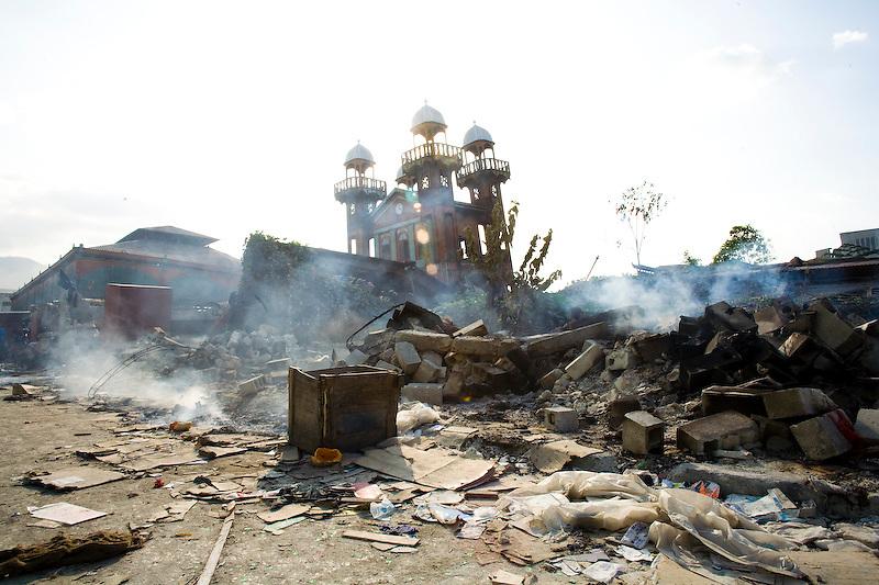 Port Au Prince's iconic Iron Market lies in ruin. Port Au Prince, Haiti. Photo by Ben Depp.1/20/2010.