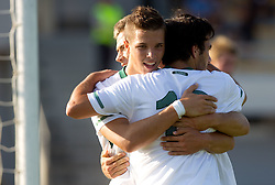 Matej Pucko, Rok Baskera and  Mitja Lotric of Slovenia celebrate during U-19 football game between National teams of Slovenia and Wales in Qualifying Round of European Under-19 Championship 2012, on September 26, 2011, in Slovenska Bistrica, Slovenia. (Photo by Vid Ponikvar / Sportida)