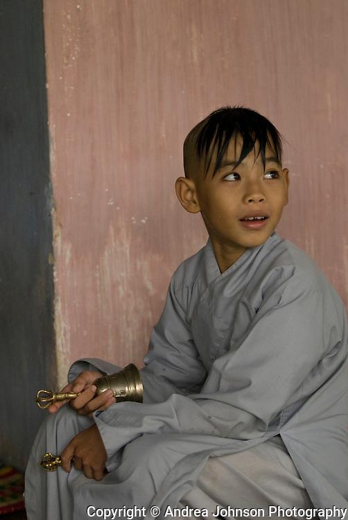 Monk in Thien Nu pagoda, Hue, Central Vietnam