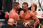 Tony Bellew consoles David Haye after his win at the O2 Arena, London, United Kingdom on 5 May 2018. Picture by Phil Duncan.