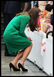 The Duchess of Cambridge talks to local children during a visit to the town of  Cambridge in New Zealand, Friday, 11th April 2014. Picture by Stephen Lock / i-Images