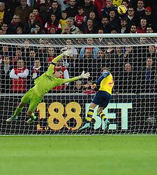 Arsenal's Calum Chambers heads the ball off the line to prevent a swansea goal  - Photo mandatory by-line: Joe Meredith/JMP - Mobile: 07966 386802 - 09/11/2014 - SPORT - Football - Swanswa - Liberty Stadium - Swansea City v Arsenal - Barclays Premier League