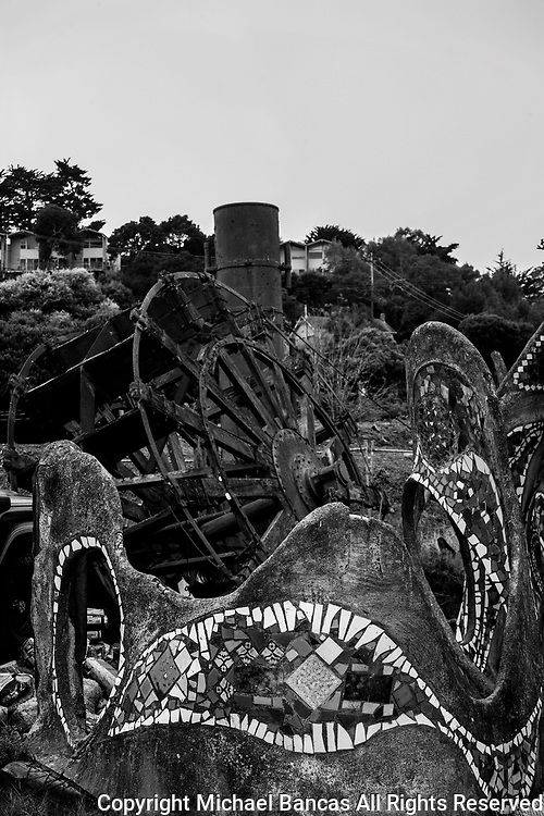 Old ruins of the Charles Van Damme paddle wheel boat in Sausalito