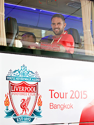 BANGKOK, THAILAND - Monday, July 13, 2015: Liverpool's new signing Danny Ings on the team bus at Bangkok's Suvarnabhumi Airport as the team arrive in Thailand for the start of the club's preseason tour. (Pic by David Rawcliffe/Propaganda)