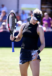 Canada's Eugenie Bouchard reacts during her match against Czech Republic's Barbora Strycova during day four of the AEGON International at Devonshire Park, Eastbourne.