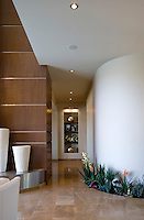 Hallway interior with plants