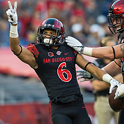 03 September 2016: The San Diego State Aztecs football team open's up the season at home against the University of New Hampshire Wildcats.  San Diego State wide receiver Mikah Holder (6) celebrates after scoring his second touchdown of the game. The Aztecs lead 21-0 at halftime. www.sdsuaztecphotos.com