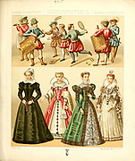 Ancient European fashion and lifestyle, 16th 17th century from Geschichte des kostums in chronologischer entwicklung (History of the costume in chronological development) by Racinet, A. (Auguste), 1825-1893. and Rosenberg, Adolf, 1850-1906, Volume 3 printed in Berlin in 1888