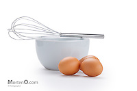 Whisk Bowl and Eggs Isolated on white background