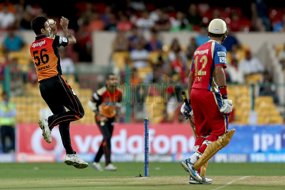 Irfan Pathan during match 24 of the Pepsi Indian Premier League Season 2014 between the Royal Challengers Bangalore and the Sunrisers Hyderabad held at the M. Chinnaswamy Stadium, Bangalore, India on the 4th May 2014. Photo by Jacques Rossouw / IPL / SPORTZPICS<br /> <br /> <br /> <br /> Image use subject to terms and conditions which can be found here:  http://sportzpics.photoshelter.com/gallery/Pepsi-IPL-Image-terms-and-conditions/G00004VW1IVJ.gB0/C0000TScjhBM6ikg