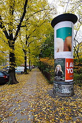 Streets in Kollwitzplatz during autumn in Prenzlauer Berg in Berlin Germany