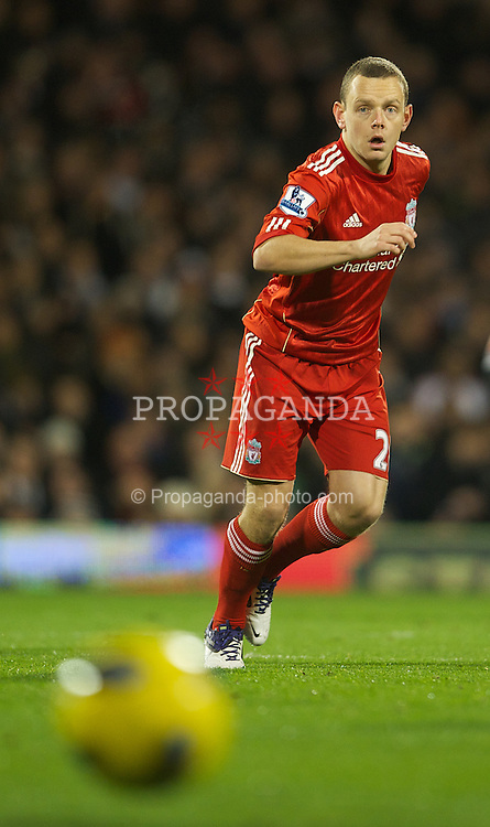 LONDON, ENGLAND - Monday, December 5, 2011: Liverpool's Jay Spearing in action against Fulham during the Premiership match at Craven Cottage. (Pic by David Rawcliffe/Propaganda)