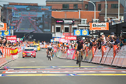 Katarzyna Niewiadoma (POL) of CANYON//SRAM Racing finishes in Liege-Bastogne-Liege - a 136 km road race, between Bastogne and Ans on April 22, 2018, in Wallonia, Belgium. (Photo by Balint Hamvas/Velofocus.com)