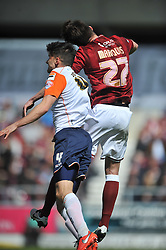 NORTHAMPTON JOHN MARQUIS BATTLES WITH LUTON JONATHAN SMITH, Northampton Town v Luton Town, Sky Bet League 2,  Six Fields Stadium Northampton Crowned Division Two Champions Saturday 30th April 2016. (Score 2-1)Photo: Mike Capps