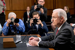 June 13, 2017 - Washington Dc, DC, USA - U.S. Attorney General Jeff Sessions testifies before the Senate Committee on Intelligence about Russian interference in the 2016 presidential election at the Hart Senate Office Building on Capitol Hill in Washington, DC. Many questions from Senators were regarding Sessions recusing himself from the Russia investigation. (Credit Image: © Ken Cedeno via ZUMA Wire)