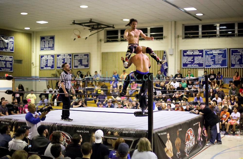 12 March 2016. Metairie, Louisiana.<br /> Wrestling action from Wildkat Sports and Entertainment's 'March into Mayhem' at the Meisler Middle School. Brian Kendrick defeats The Southern Stomper, Luke Hawx.<br /> Photo&copy;; Charlie Varley/varleypix.com