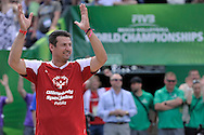Wladimir Grbic of Serbia (L) celebrates a winning point while exhibition match of Special Olympics Poland during Day 7 of the FIVB World Championships on July 7, 2013 in Stare Jablonki, Poland. <br /> <br /> Poland, Stare Jablonki, July 07, 2013<br /> <br /> Picture also available in RAW (NEF) or TIFF format on special request.<br /> <br /> For editorial use only. Any commercial or promotional use requires permission.<br /> <br /> Mandatory credit:<br /> Photo by © Adam Nurkiewicz / Mediasport