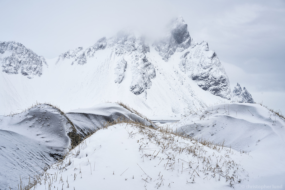 Vestrahorn and Stokksnes in winter. Southeast Iceland.