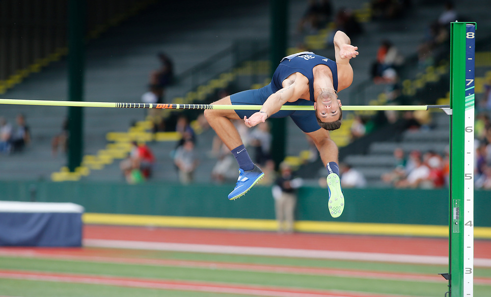 Rice's Scott Filip clears the bar in the high jump during the men's decathlon on the first day of the NCAA college track and field championships in Eugene, Ore., Wednesday, June 7, 2017. (AP Photo/Timothy J. Gonzalez)