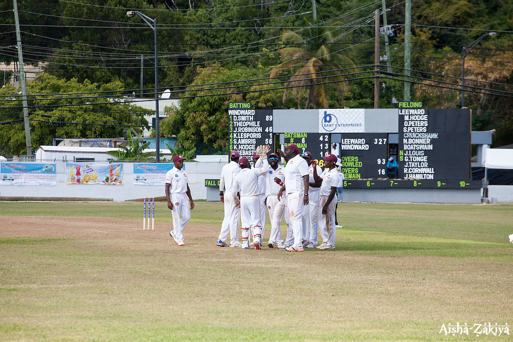 Windward Islands Volcanoes celebrate at the WICB Professional Cricket League Regional 4-Day Tournament on Sunday, February 21, 2016 at the Addelita Cancryn Junior High School.  © Aisha-Zakiya Boyd