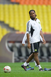 MOSCOW, RUSSIA - Tuesday, May 20, 2008: Chelsea's Didier Drogba during training ahead of the UEFA Champions League Final against Manchester United at the Luzhniki Stadium. (Photo by David Rawcliffe/Propaganda)