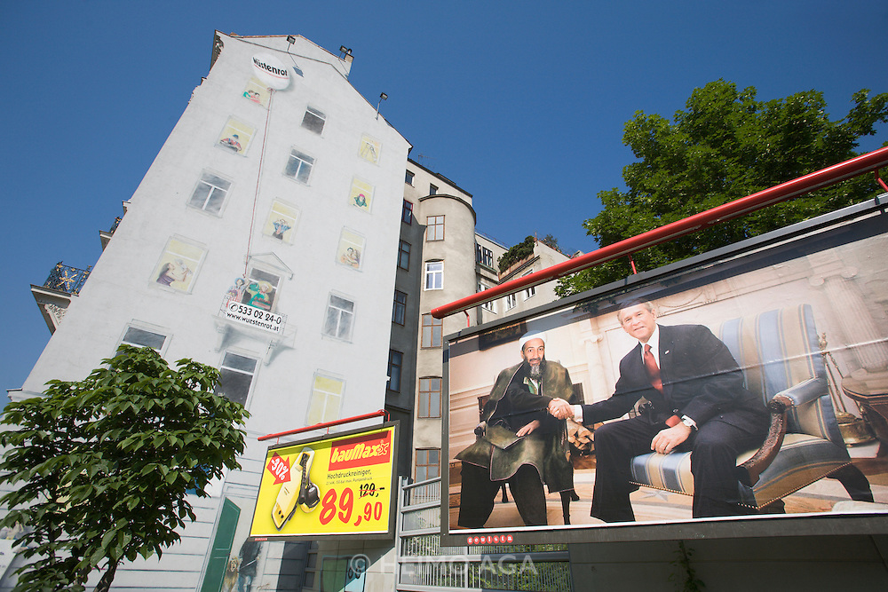 "A provocative billboard is on display on Vienna's busy Wienzeile, showing a photocomposition of U.S. President George W. Bush and Osama Bin Laden sitting together smiling and shaking hands, presumably at the White House..It is an advertising teaser for Austria's largest boulevard newspaper Kronenzeitung (or short ""Krone""), to be completed with the phrase ""Glauben Sie es erst, wenn es in der Krone steht (only start to believe it if it stand in the Krone)."