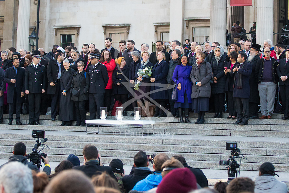 Trafalgar Square, London, March 23 2017. Thousands attend a vigil for the victims of the Westminster Bridge atrocity on Wednesday.