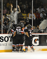 The Calgary Hitmen celebrate a goal in the semi-final game of the 2010 MasterCard Memorial Cup in Brandon, MB on Friday May 21. Photo by Aaron Bell/CHL Images
