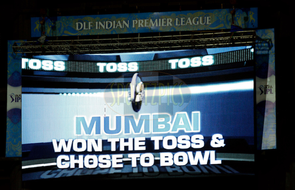Giant Screen before the match 65 of the the Indian Premier League ( IPL) 2012  between The Mumbai Indians and the Kolkata Knight Riders held at the Wankhede Stadium in Mumbai on the 16th May 2012..Photo by Sandeep Shetty/IPL/SPORTZPICS