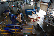 Organic cotton being dyed at Pratibha Syntax factory, where organic cotton is being used to make clothes, Indore, India.