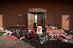 LIVERPOOL, ENGLAND - Tuesday, March 17, 2020: Flowers left at the Hillsborough Memorial at Anfield, home of Champions-elect Liverpool Football Club, pictured after the suspension of all football due to the Coronavirus (COVID-19) and Liverpool's decision to close it's Boot Room cafe and official stores. (Pic by David Rawcliffe/Propaganda)