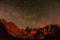 Night scene of Kolob Canyons (part of Zion National Park) with the Milky Way, Utah USA
