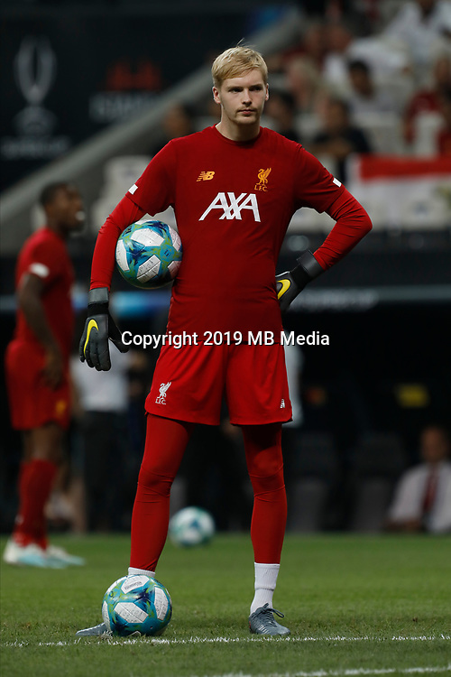 ISTANBUL, TURKEY - AUGUST 14: Caoimhin Kelleher of Liverpool looks on during the warm-up ahead of the UEFA Super Cup match between Liverpool and Chelsea at Besiktas Park on August 14, 2019 in Istanbul, Turkey. (Photo by MB Media/Getty Images)