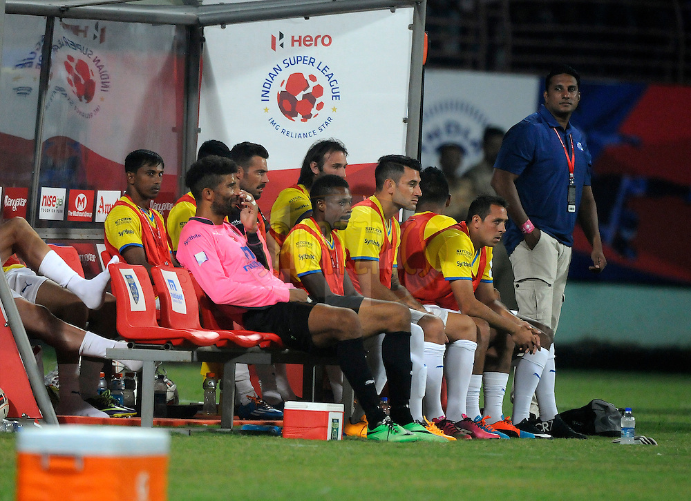 David James of Kerala Blasters FC sits in the dug out after getting injured during match 45 of the Hero Indian Super League between Kerala Blasters FC and Chennaiyin FC held at the Jawaharlal Nehru Stadium, Kochi, India on the 30th November.<br /> <br /> Photo by:  Pal Pillai/ ISL/ SPORTZPICS