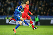 Jamie Vardy of Leicester City scoring a goal during the Premier League match at the King Power Stadium, Leicester<br /> Picture by Andy Kearns/Focus Images Ltd 0781 864 4264<br /> 27/02/2017